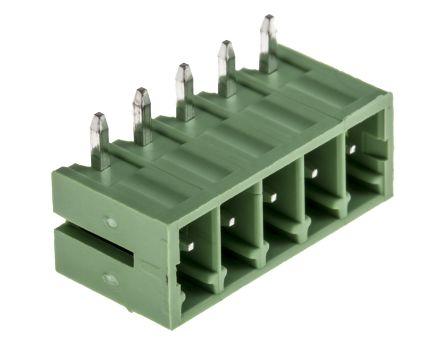 RS PRO , 5 Way, 1 Row, Right Angle PCB Terminal Block Header (10)