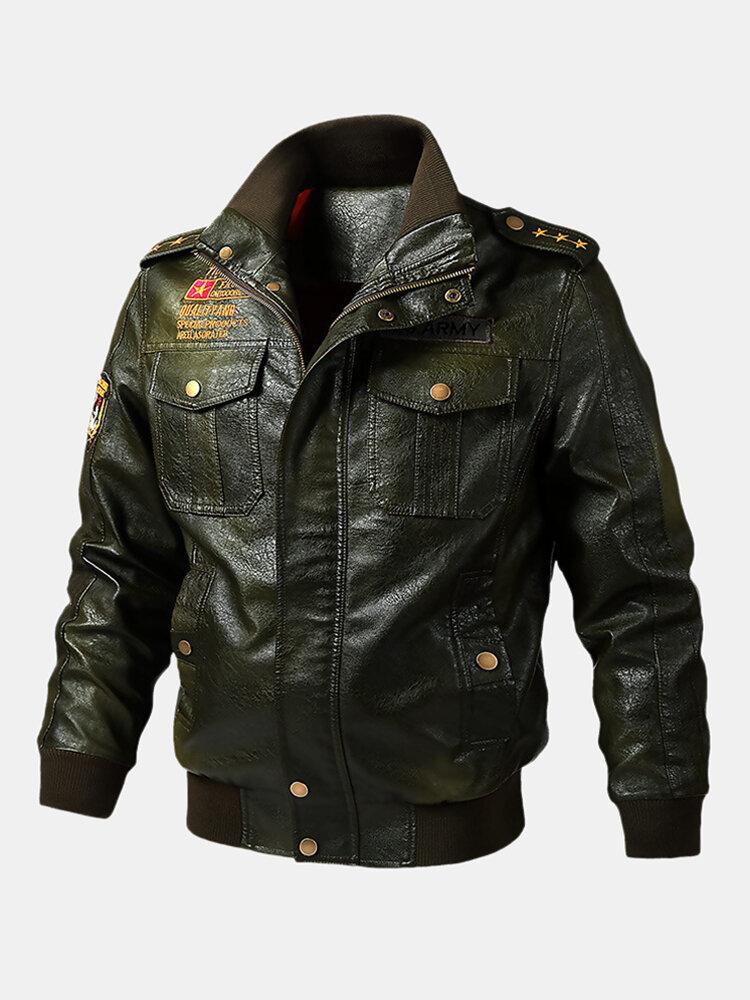 Mens PU Leather Fashion Long Sleeve Motorcycle Leather Jackets Coats