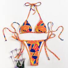 Allover Graphic Triangle Tie Side Bikini Swimsuit