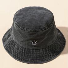 Sombrero cubo con bordado lavado