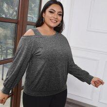 Sweatshirt mit Space Dye und asymmetrischem Kragen