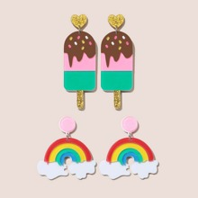 2pairs Rainbow & Ice Cream Drop Earrings