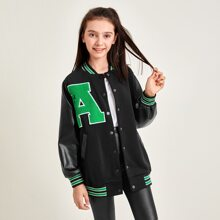 Girls Letter Patched PU Leather Sleeve Bomber Jacket