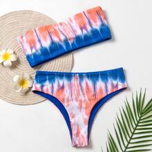 Tie Dye Bandeau Bikini Swimsuit
