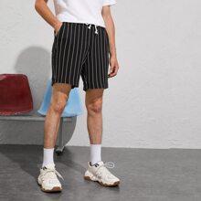 Guys Drawstring Waist Textured Pinstripe Shorts