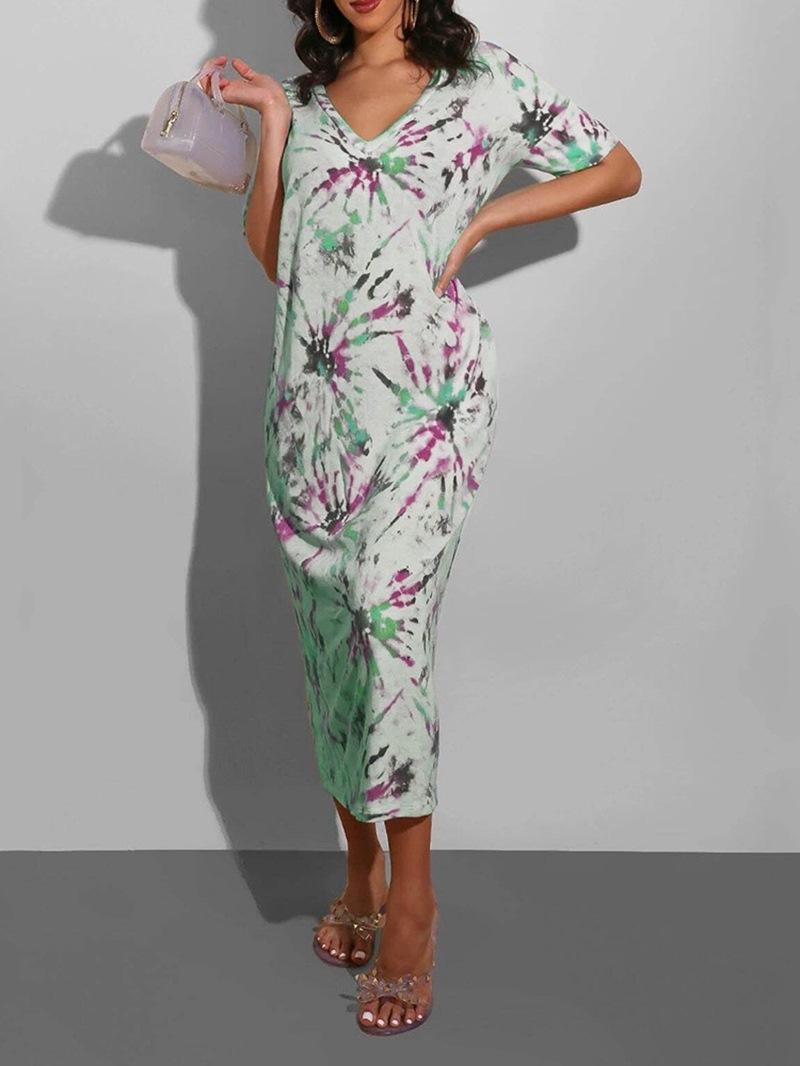 Ericdress Mid-Calf V-Neck Tie-Dye Casual Regular Dress