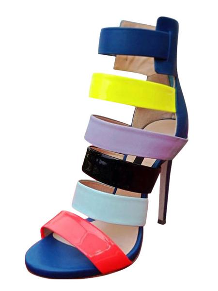 Milanoo High Heel Sandals Multicolor Open Toe Strappy Sandal Shoes Women Gladiator Sandals