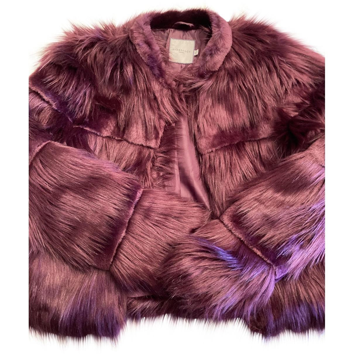 Urbancode - Manteau   pour femme en fourrure synthetique - bordeaux