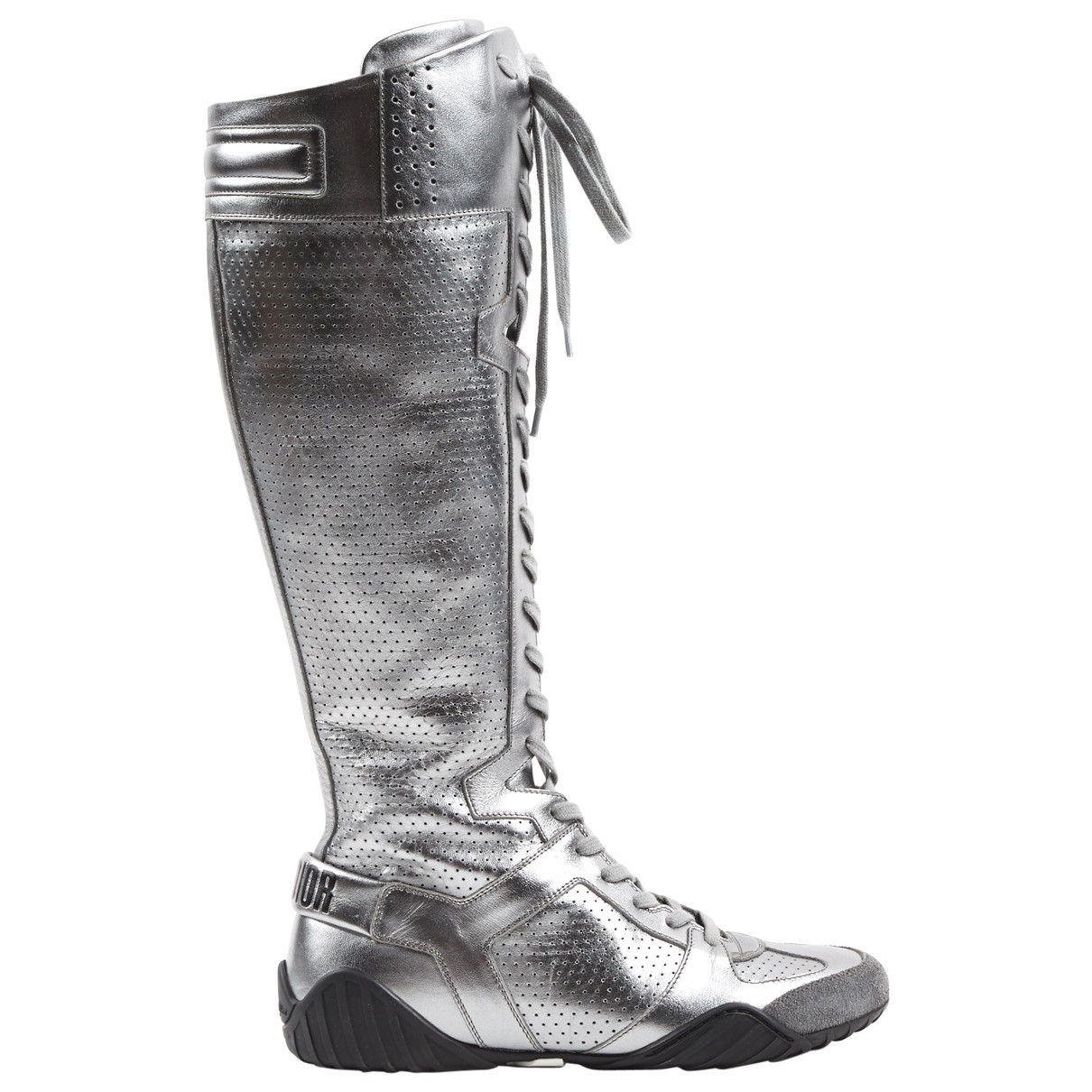 Dior \N Silver Leather Boots for Women 37 EU