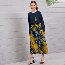 Outfit de dos piezas Bolsillo Tie-Dye Casual