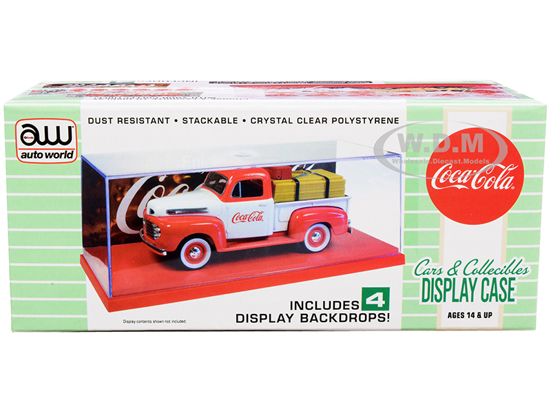 Collectible Acrylic Display Show Case with Red Plastic Base and 4