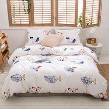 Set de cama con estampado sin relleno