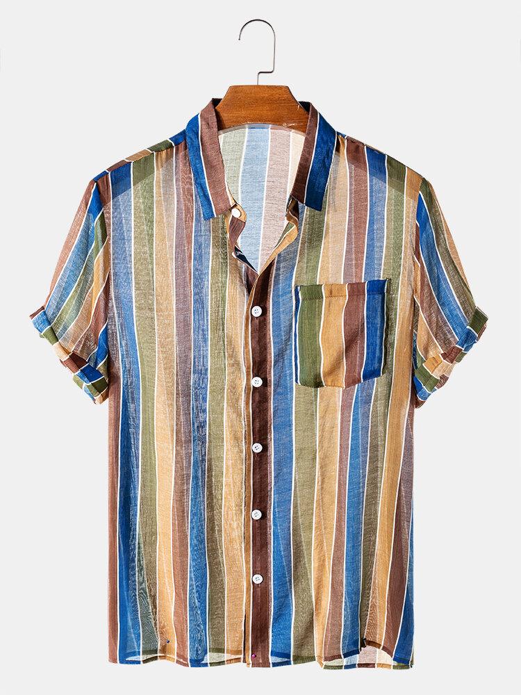 Mens Transparent Colorful Striped Short Sleeve Light Designer Shirts