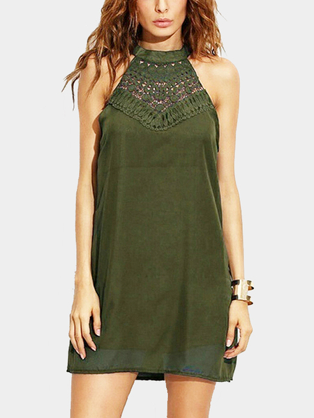 Yoins Armygreen Halter Hollow Out Mini Length Dress