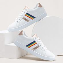 Striped Graphic Lace-up Front Skate Shoes