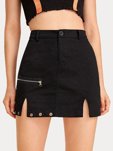 Milanoo Women Skirt Black Zipper Short Raised Waist Autumn And Winter Women Bottoms