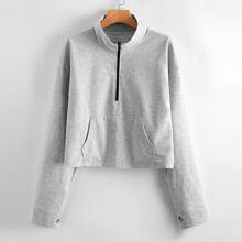 Sweatshirt mit halbem Reissverschluss und Kaenguru Taschen