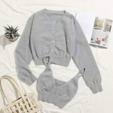 Button Front Fuzzy Knit Cardigan With Cami Top