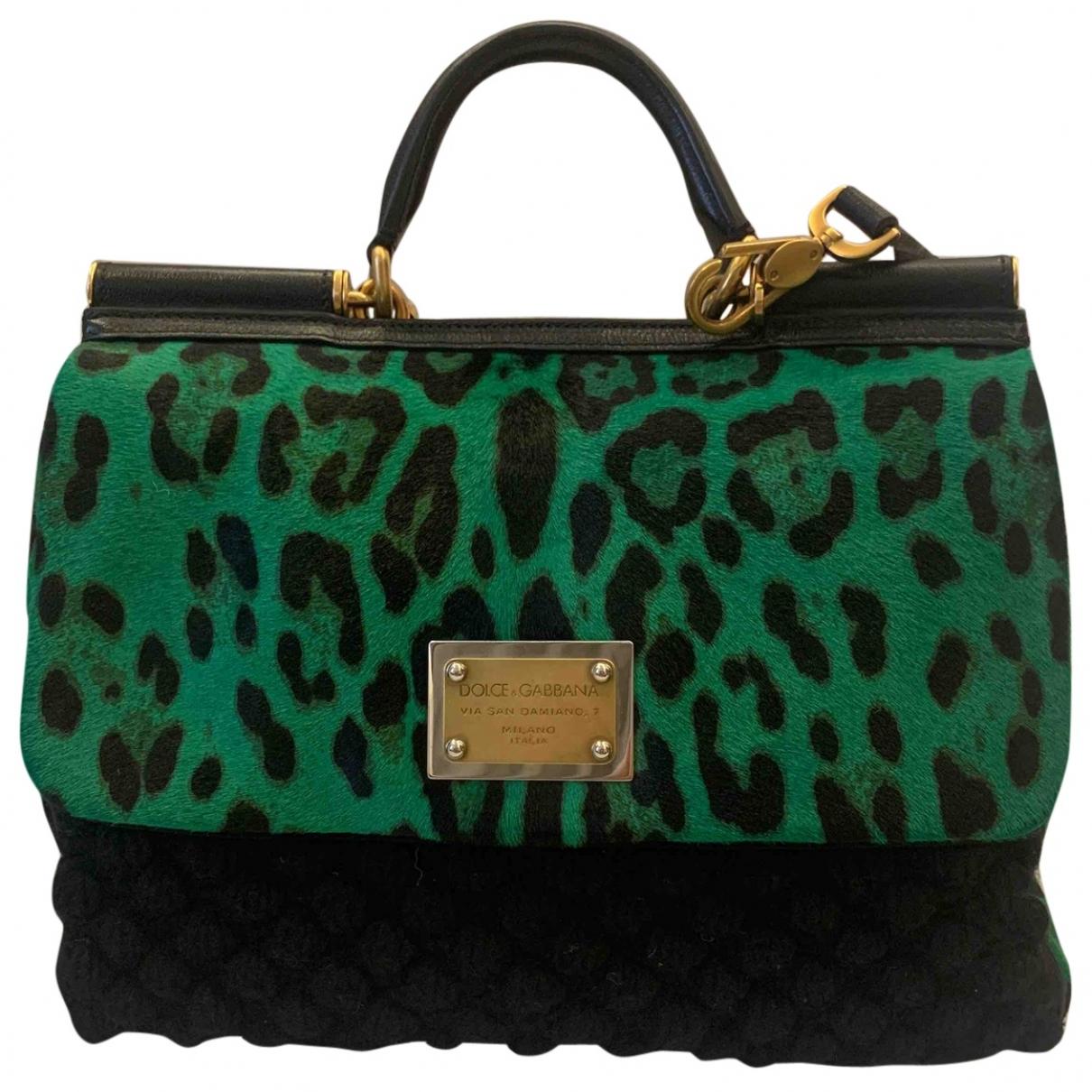Dolce & Gabbana Sicily Handtasche in  Gruen Wolle
