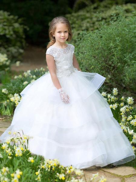 Milanoo Vestidos de niña de las flores Cuello de joya Mangas cortas Faja Hasta el suelo Vestidos de fiesta para niños