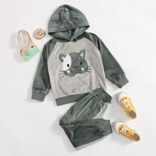 Outfits dos piezas para niña pequeña Bolsillo Dibujos animados Casual