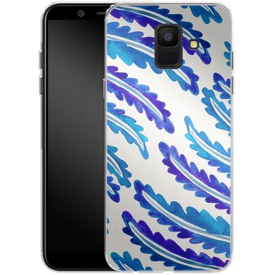 Samsung Galaxy A6 Silikon Handyhuelle - Fern Leaf Navy von Cat Coquillette