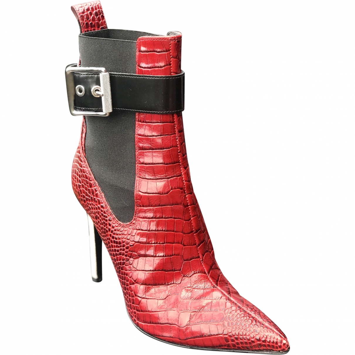 Rag & Bone - Boots   pour femme en cuir - rouge
