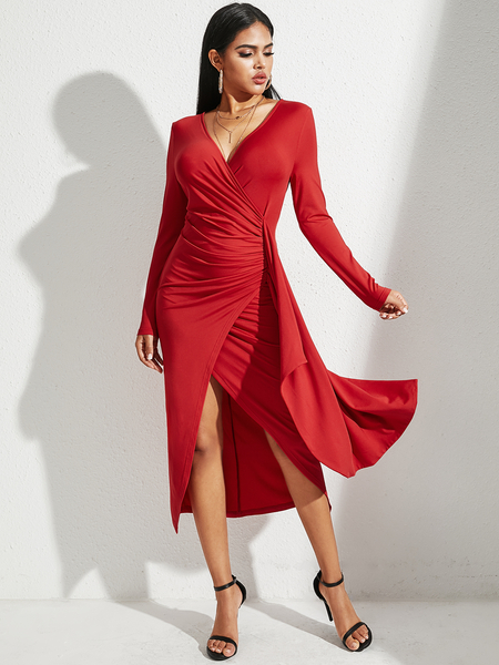 YOINS Red Twist Criss-cross Ruched V-neck Long Sleeves Dress