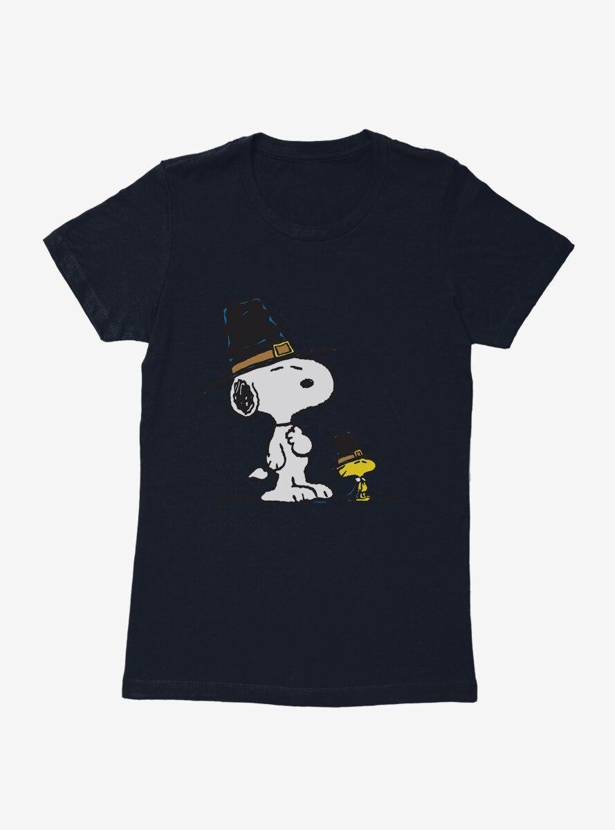 Peanuts Snoopy And Woodstock Pilgrims Womens T-Shirt