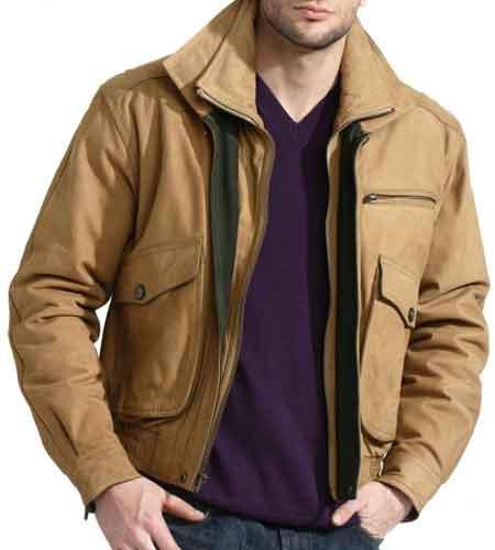 Mens Double Collared Slim European Fit Tan Nubuck Leather Jacket