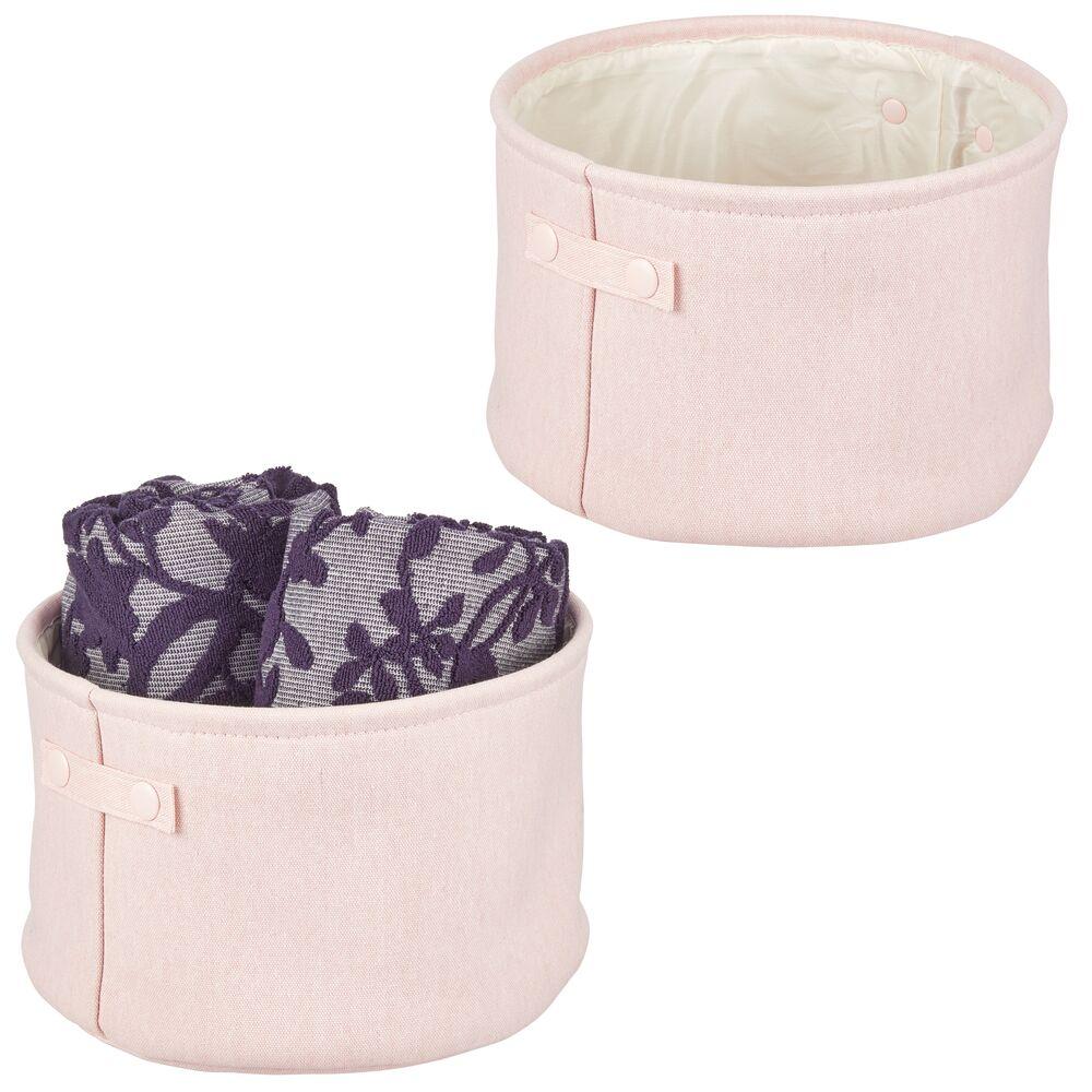 mDesign Small Fabric Bathroom Storage Bin, Coated Interior - Round in Light Pink, 12
