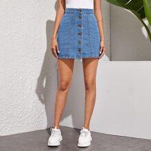 Button Through A-Line Denim Skirt