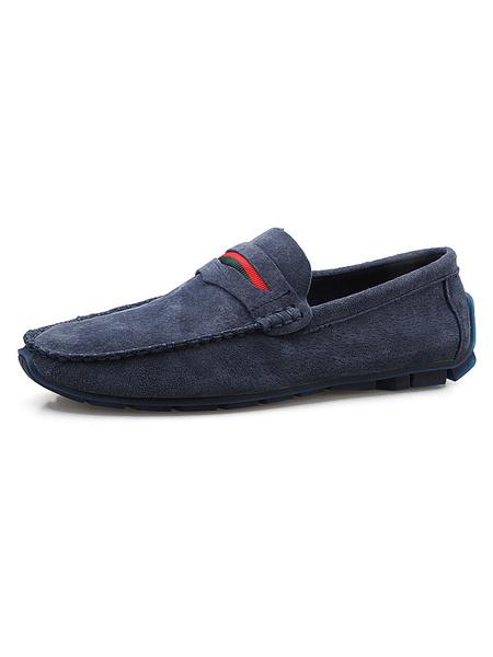 Milanoo Mocasines de ante con mocasines y zapatos de conduccion en azul marino