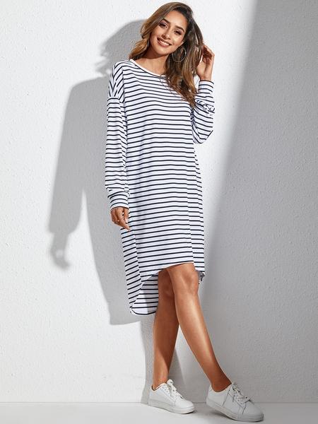 YOINS White Striped Round Neck Long Sleeves Dress