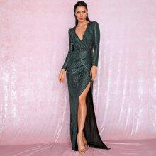 Kleid mit tiefem Kragen, Wickel Design und Pailletten