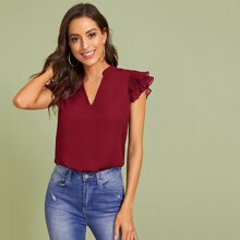 Layered Pleated Sleeve Solid Top
