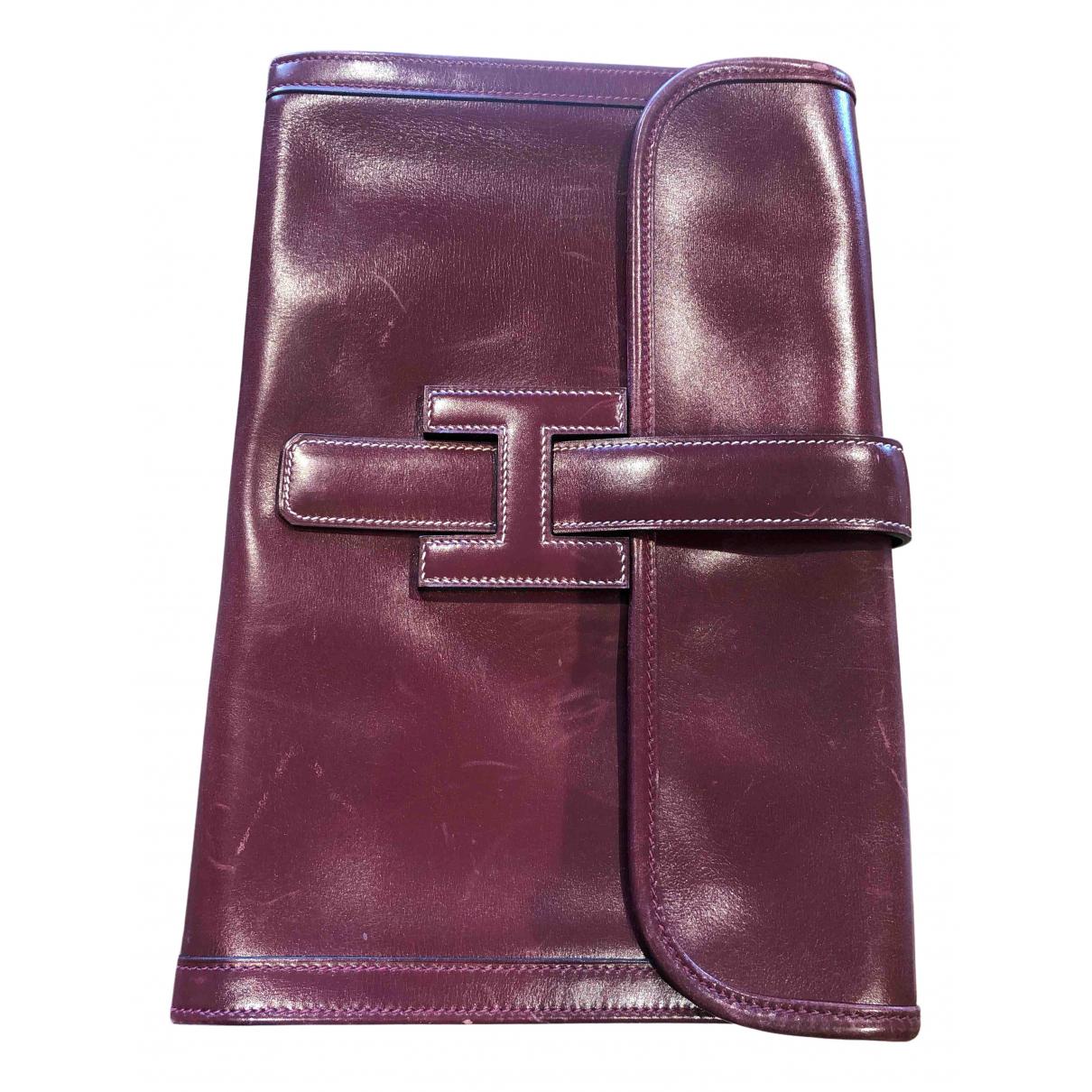 Hermes Jige Clutch in  Bordeauxrot Leder