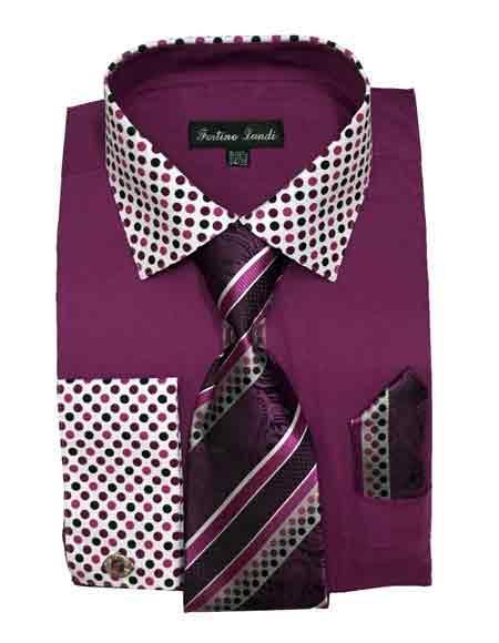 Mens Purple Cotton Solid Dot Pattern Matching Tie Hanky Dress Shirt
