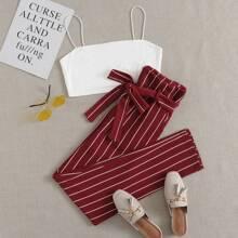 Einfarbiges Crop Cami Top & Hose mit Guertel und Streifen