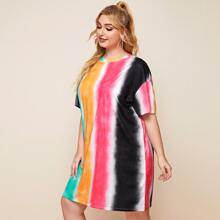 Plus Ombre Drop Shoulder Tee Dress