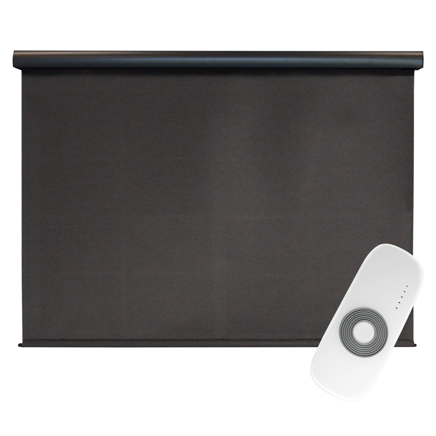 Premier Rechargeable Motorized Outdoor Sun Shade with Protective Valance, 4' W x 8' L, Mahogany