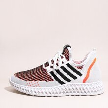 Lace-up Front Colorblock Knit Sneakers