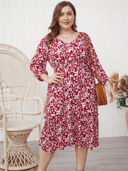 Yoins Plus Size Calico V-neck 3/4 Length Sleeves Dress