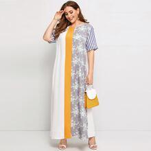 Ubergrosses Kleid mit Streifen auf den Ärmeln und Farbblock