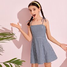 Kleid mit Karo Muster, Knoten und Riemen