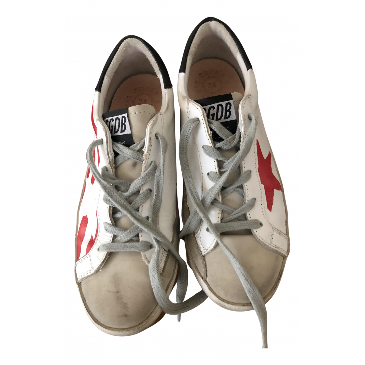Golden Goose Superstar White Leather Trainers for Kids 34 FR