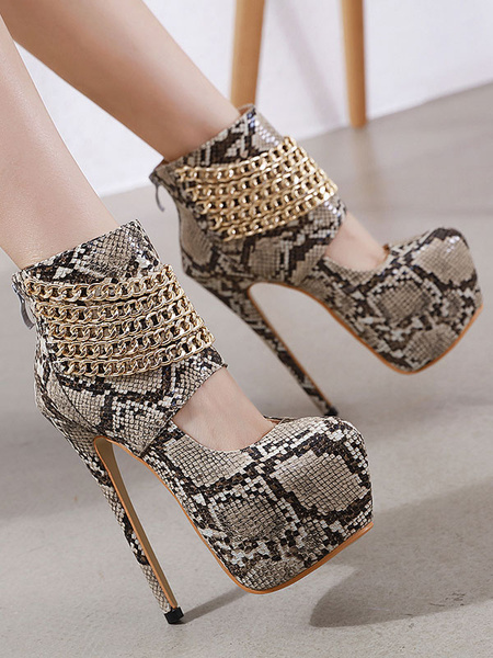 Milanoo Women Platform Sexy High Heels Round Toe Snake Print Sexy Shoes With Chains
