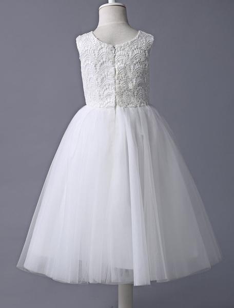 Milanoo Flower Girl Dress Ivory Lace Tulle Tutu First Communion Dresses Dress Sleeveless Short Kids Dinner Party Dress
