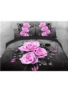 Pink Roses Duvet Cover 3D Printed 4-Piece Floral Bedding Sets/Duvet Cover Set