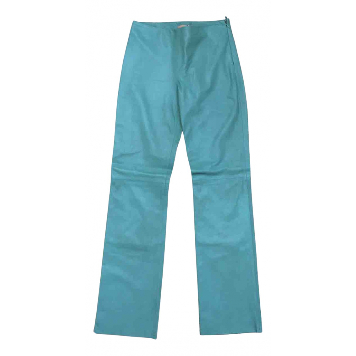 Bally \N Blue Leather Trousers for Women 10 UK